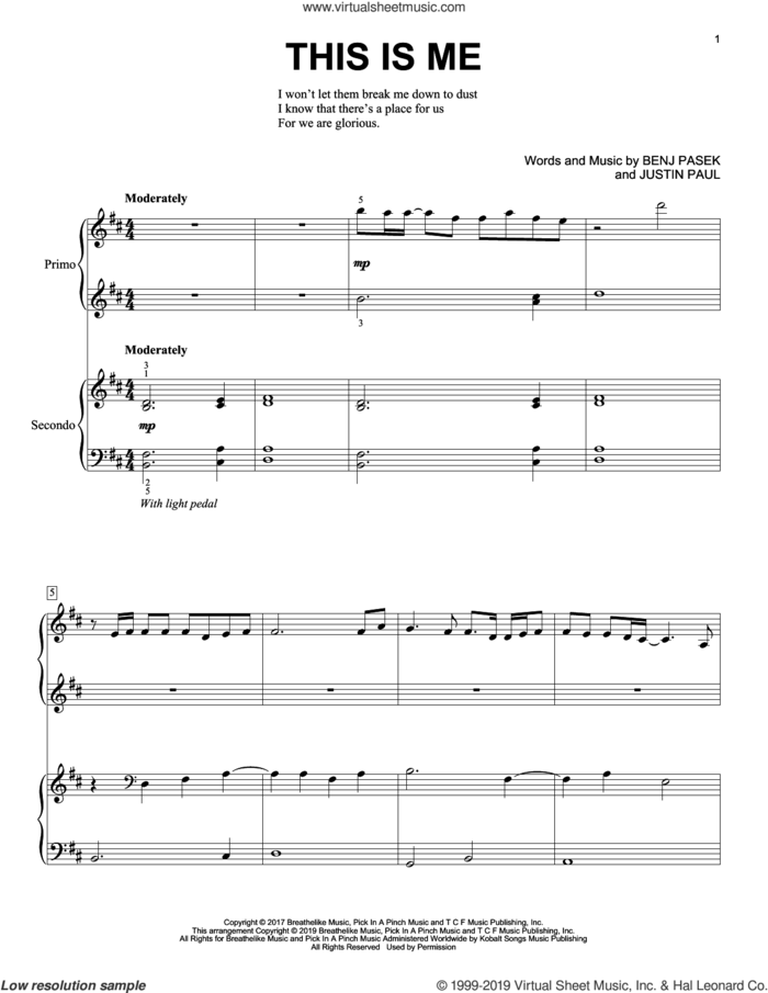 This Is Me (from The Greatest Showman) sheet music for piano four hands by Pasek & Paul, Benj Pasek and Justin Paul, intermediate skill level