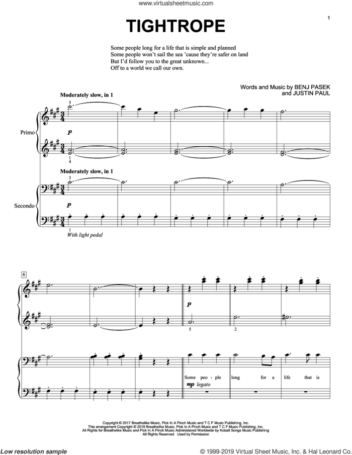 Tightrope (from The Greatest Showman) sheet music for piano four hands by Benj Pasek, Justin Paul and Pasek & Paul, intermediate skill level