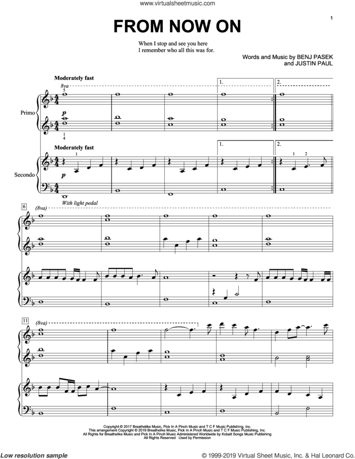 From Now On (from The Greatest Showman) sheet music for piano four hands by Benj Pasek, Justin Paul and Pasek & Paul, intermediate skill level