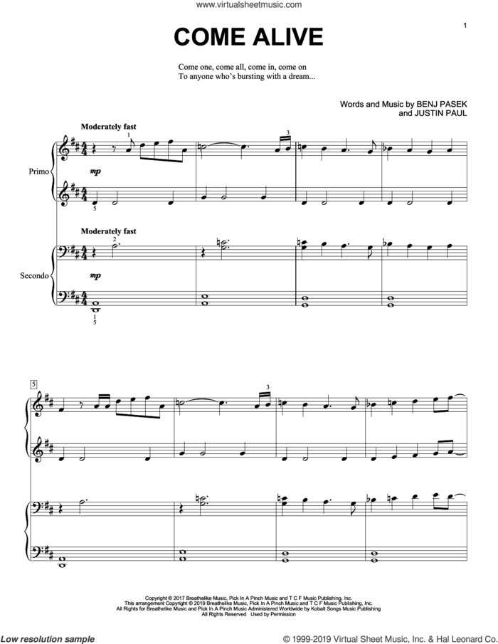 Come Alive (from The Greatest Showman) sheet music for piano four hands by Pasek & Paul, Benj Pasek and Justin Paul, intermediate skill level