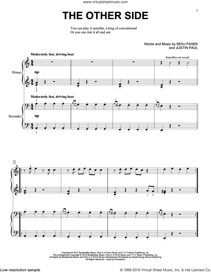 The Other Side (from The Greatest Showman) sheet music for piano four hands by Pasek & Paul, Benj Pasek and Justin Paul, intermediate skill level