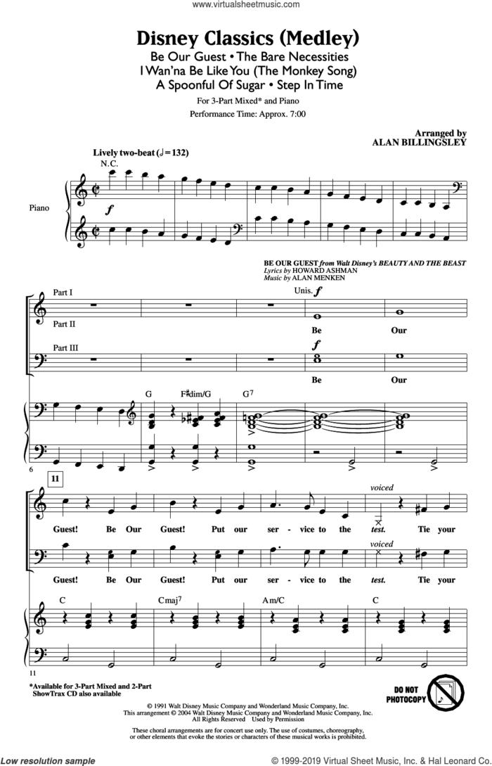 Disney Classics (Medley) sheet music for choir (3-Part Mixed) by Alan Menken, Alan Billingsley, Howard Ashman, Richard M. Sherman, Robert B. Sherman and Terry Gilkyson, intermediate skill level