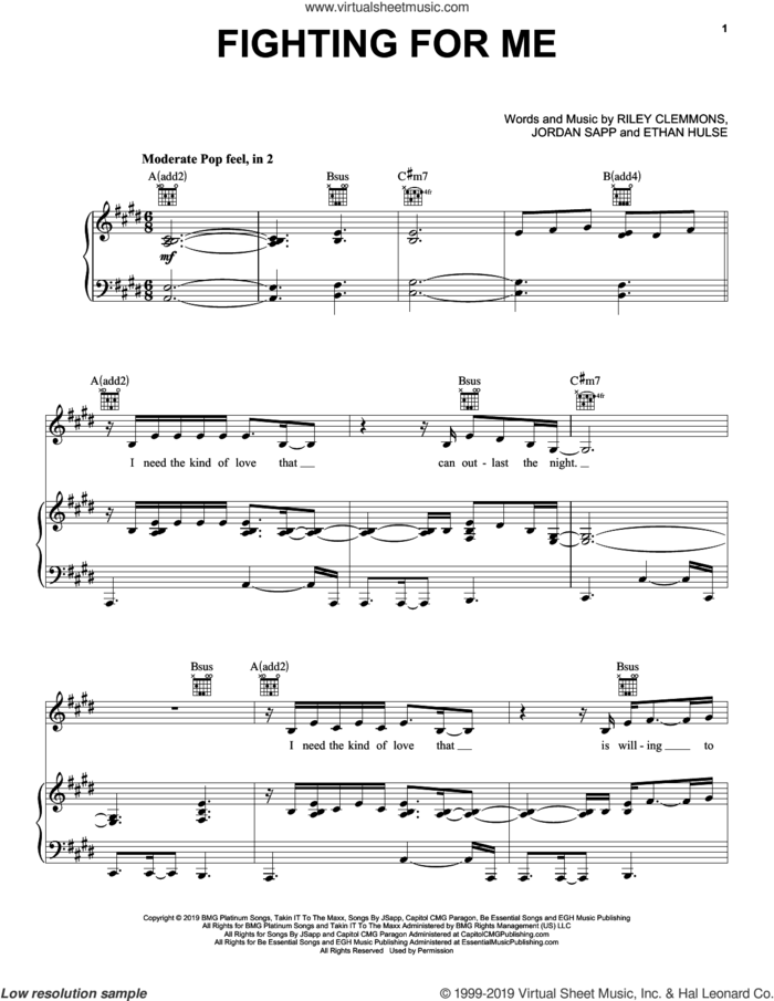 Fighting For Me sheet music for voice, piano or guitar by Riley Clemmons, Ethan Hulse and Jordan Sapp, intermediate skill level