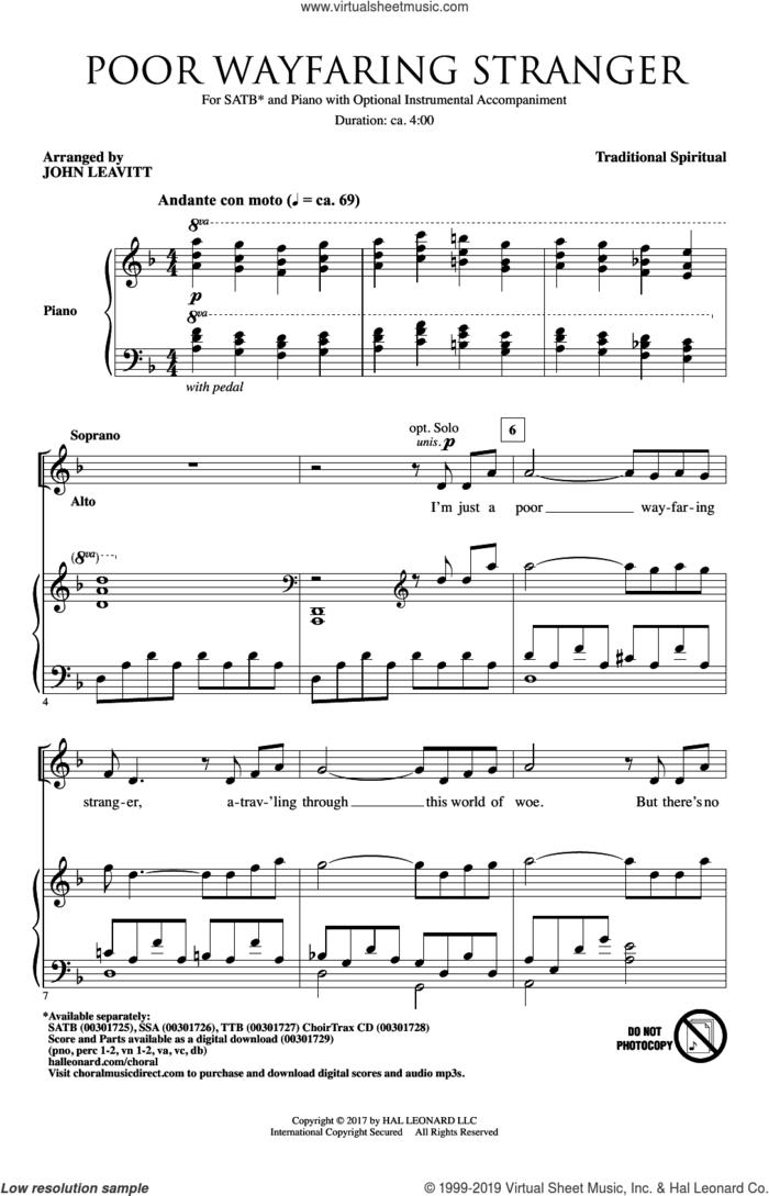 Poor Wayfaring Stranger (arr. John Leavitt) sheet music for choir (SATB: soprano, alto, tenor, bass)  and John Leavitt, intermediate skill level