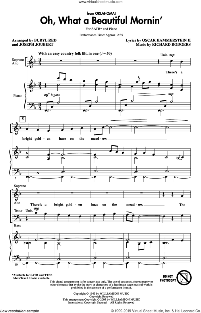 Oh, What A Beautiful Mornin' (from Oklahoma) (arr. Buryl Red and Joseph Joubert) sheet music for choir (SATB: soprano, alto, tenor, bass) by Rodgers & Hammerstein, Buryl Red, Joseph Joubert, Oscar II Hammerstein and Richard Rodgers, intermediate skill level
