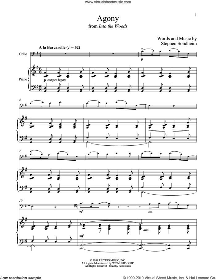 Agony (from Into The Woods) sheet music for cello and piano by Stephen Sondheim, intermediate skill level
