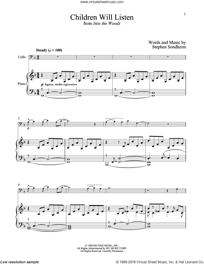 Children Will Listen (from Into The Woods) sheet music for cello and piano by Stephen Sondheim, intermediate skill level