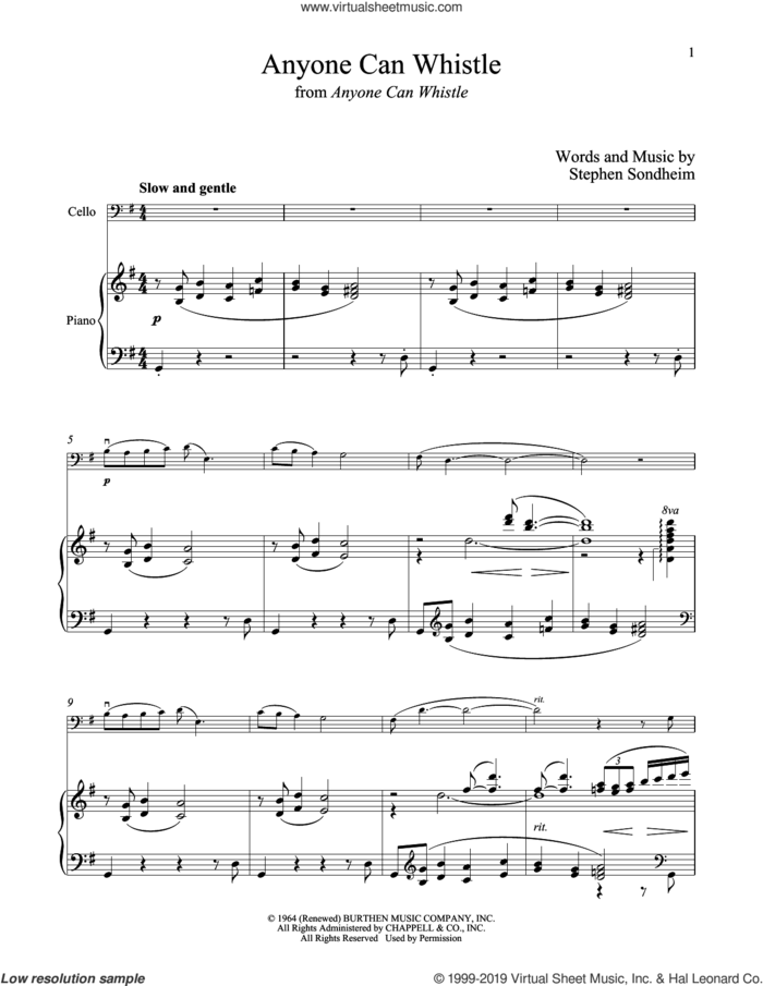 Anyone Can Whistle (from Anyone Can Whistle) sheet music for cello and piano by Stephen Sondheim, intermediate skill level