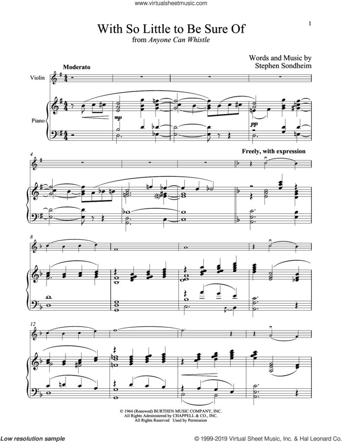 With So Little To Be Sure Of (from Anyone Can Whistle) sheet music for violin and piano by Stephen Sondheim, intermediate skill level