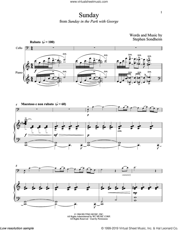 Sunday (from Sunday in the Park with George) sheet music for cello and piano by Stephen Sondheim, intermediate skill level