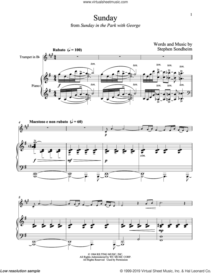 Sunday (from Sunday in the Park with George) sheet music for trumpet and piano by Stephen Sondheim, intermediate skill level