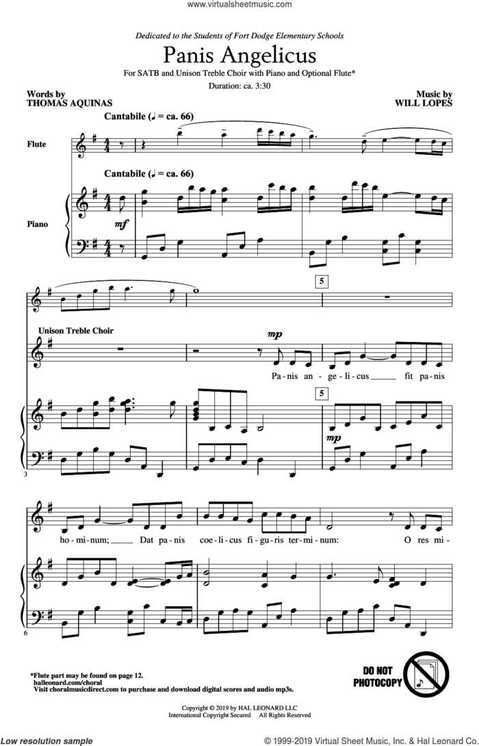 Panis Angelicus sheet music for choir (SATB: soprano, alto, tenor, bass) by Will Lopes, Thomas Aquinas and Thomas Aquinas and Will Lopes, intermediate skill level