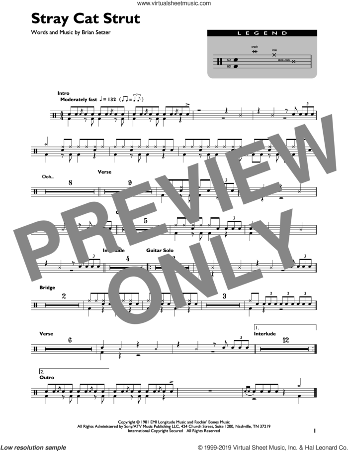 Stray Cat Strut sheet music for drums (percussions) by Stray Cats and Brian Setzer, intermediate skill level