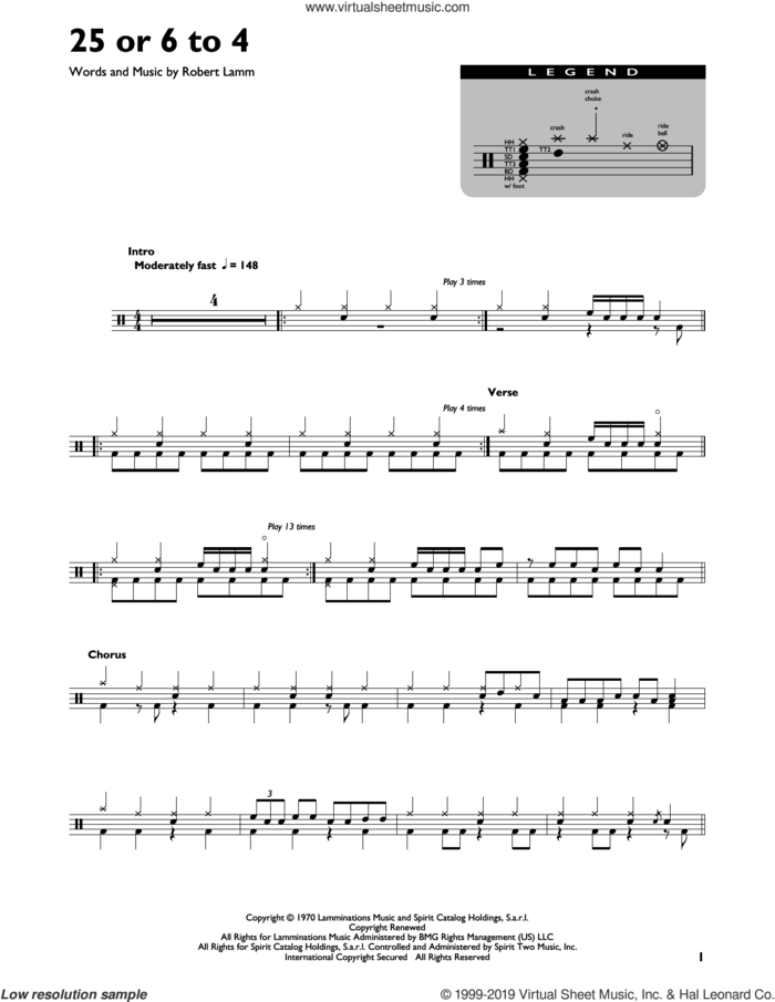 25 Or 6 To 4 sheet music for drums (percussions) by Chicago and Robert Lamm, intermediate skill level