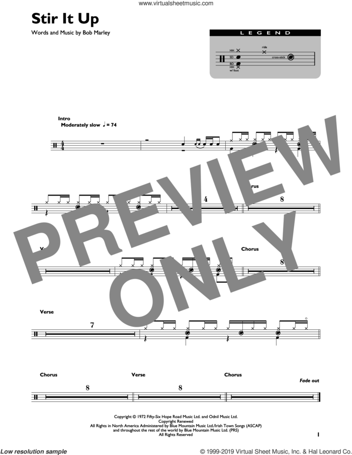 Stir It Up sheet music for drums (percussions) by Bob Marley, intermediate skill level