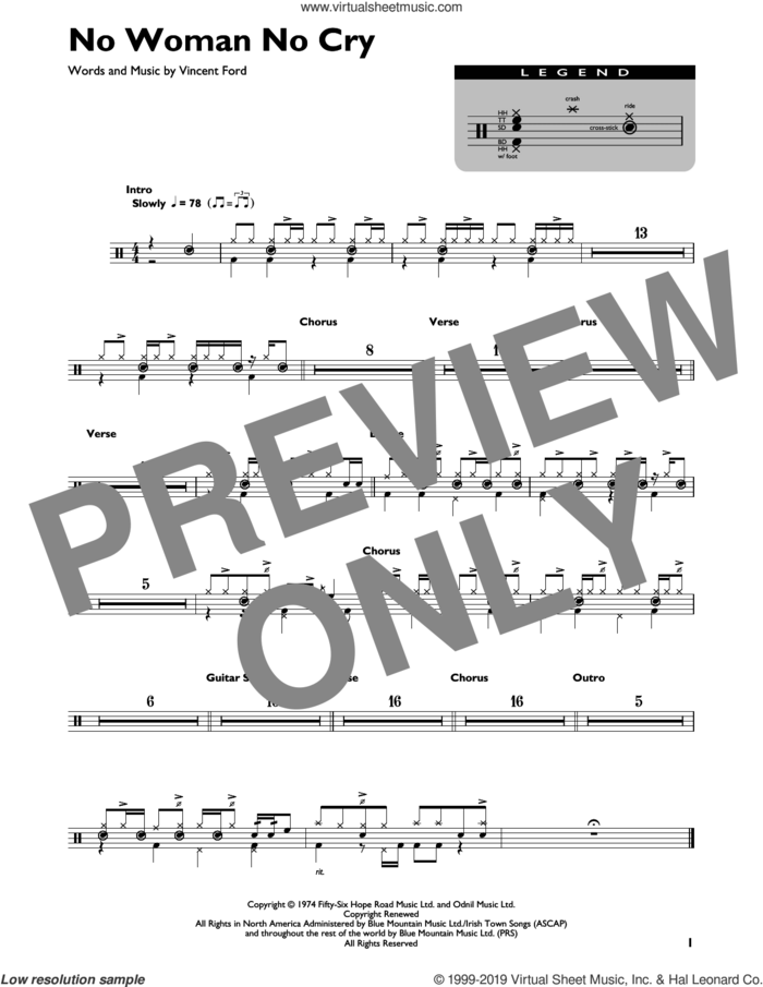 No Woman No Cry sheet music for drums (percussions) by Bob Marley and Vincent Ford, intermediate skill level