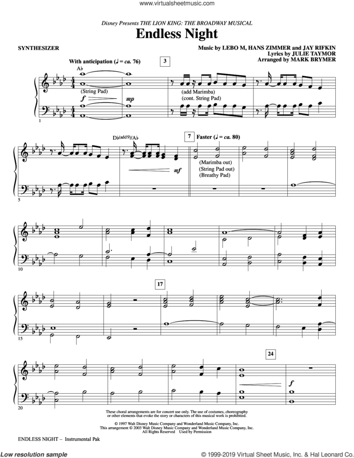 Endless Night (from The Lion King: Broadway Musical) (arr. Mark Brymer) (complete set of parts) sheet music for orchestra/band by Lebo M., Hans Zimmer, Jay Rifkin and Julie Taymor, Hans Zimmer, Jay Rifkin, Julie Taymor, Lebo M. and Mark Brymer, intermediate skill level