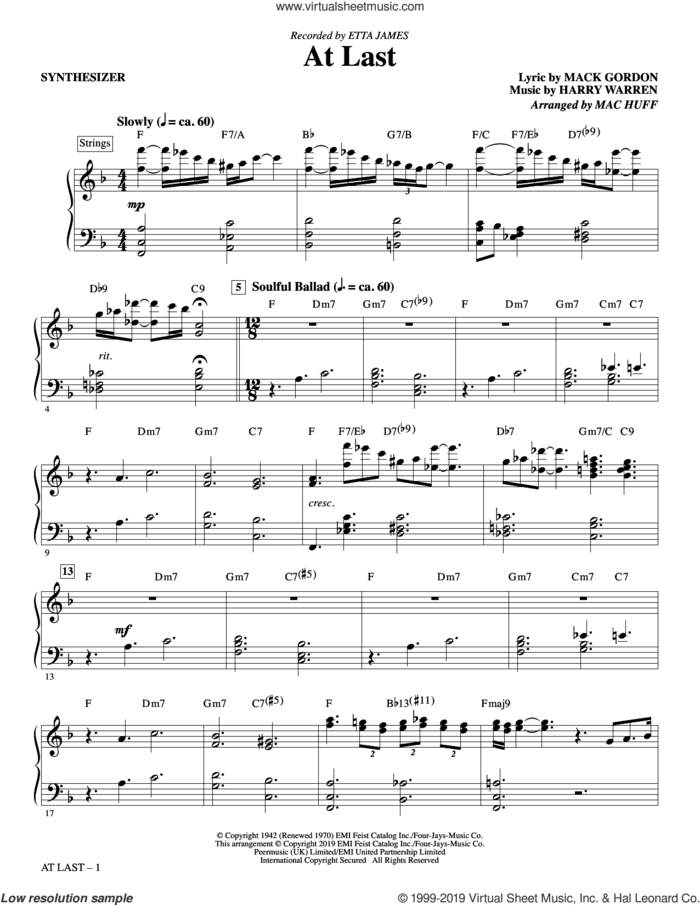 At Last (arr. Mac Huff) (complete set of parts) sheet music for orchestra/band by Etta James, Harry Warren, Mac Huff and Mack Gordon, intermediate skill level