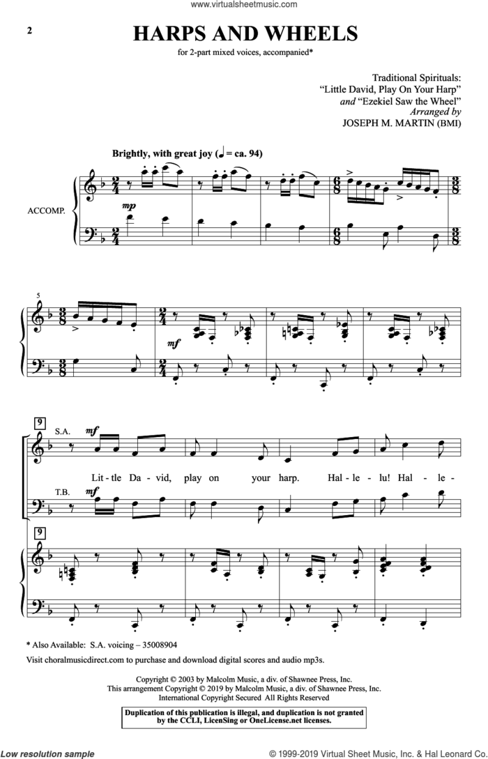Harps And Wheels (with 'Little David, Play On Your Harp' and 'Ezekiel Saw The Wheel') sheet music for choir (2-Part) by Joseph M. Martin and Traditional Spirituals, intermediate duet