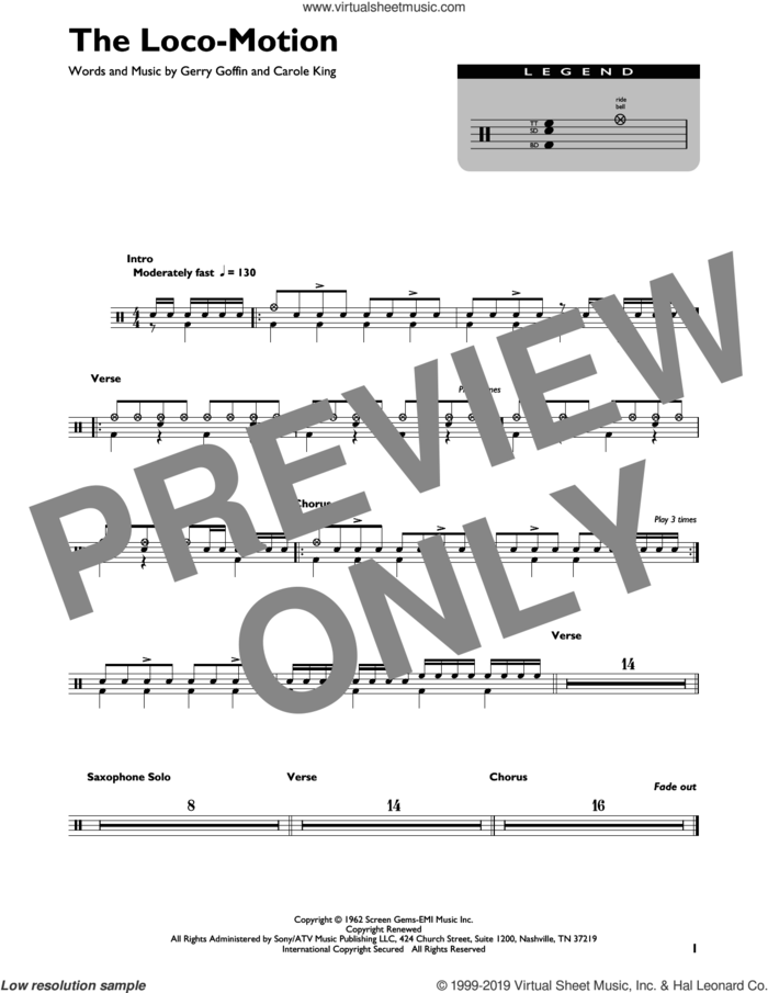 The Loco-Motion sheet music for drums (percussions) by Little Eva, Carole King and Gerry Goffin, intermediate skill level
