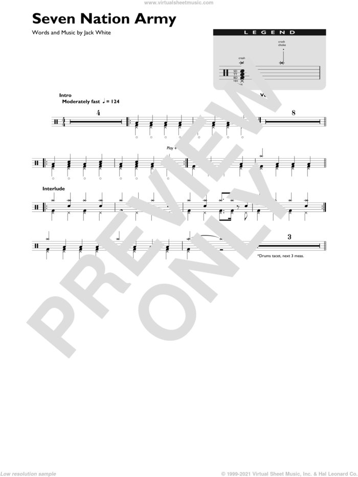 Seven Nation Army sheet music for drums (percussions) by White Stripes and Jack White, intermediate skill level