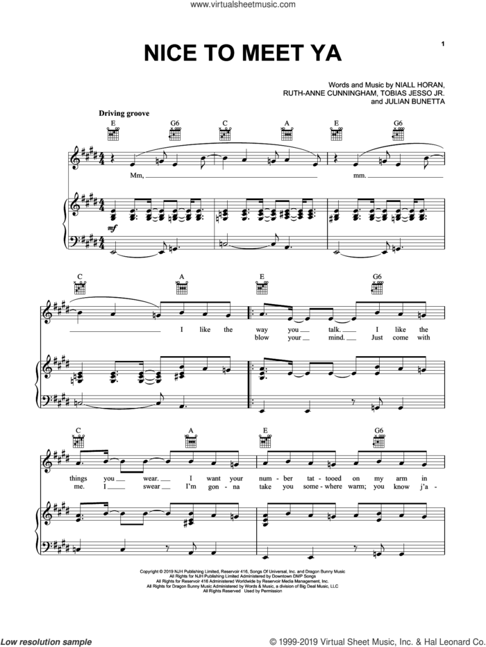 Nice To Meet Ya sheet music for voice, piano or guitar by Niall Horan, Julian Bunetta, Ruth Anne Cunningham and Tobias Jesso Jr., intermediate skill level