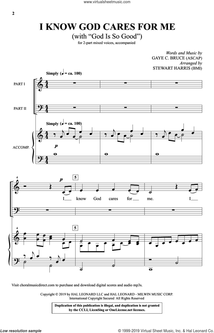 I Know God Cares For Me (with 'God Is So Good') (arr. Stewart Harris) sheet music for choir (2-Part) by Gaye C. Bruce and Stewart Harris, intermediate duet