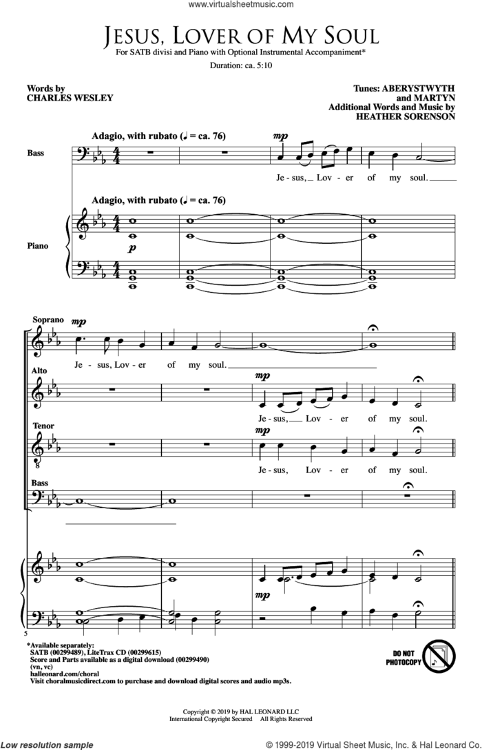Jesus, Lover Of My Soul sheet music for choir (SATB: soprano, alto, tenor, bass) by Heather Sorenson and Charles Wesley, intermediate skill level