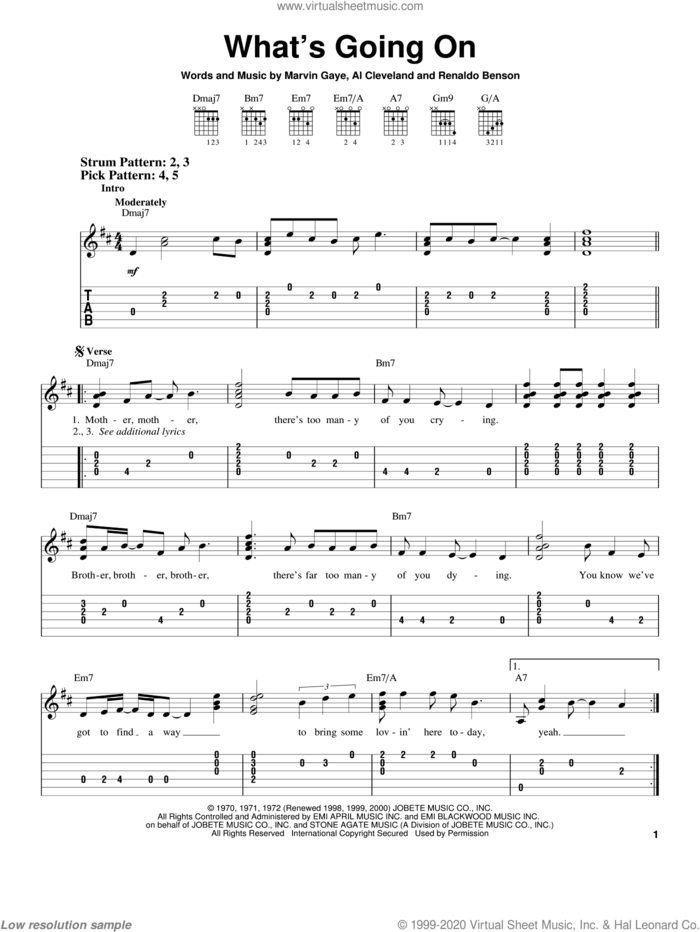 What's Going On sheet music for guitar solo (chords) by Marvin Gaye, Al Cleveland and Renaldo Benson, easy guitar (chords)