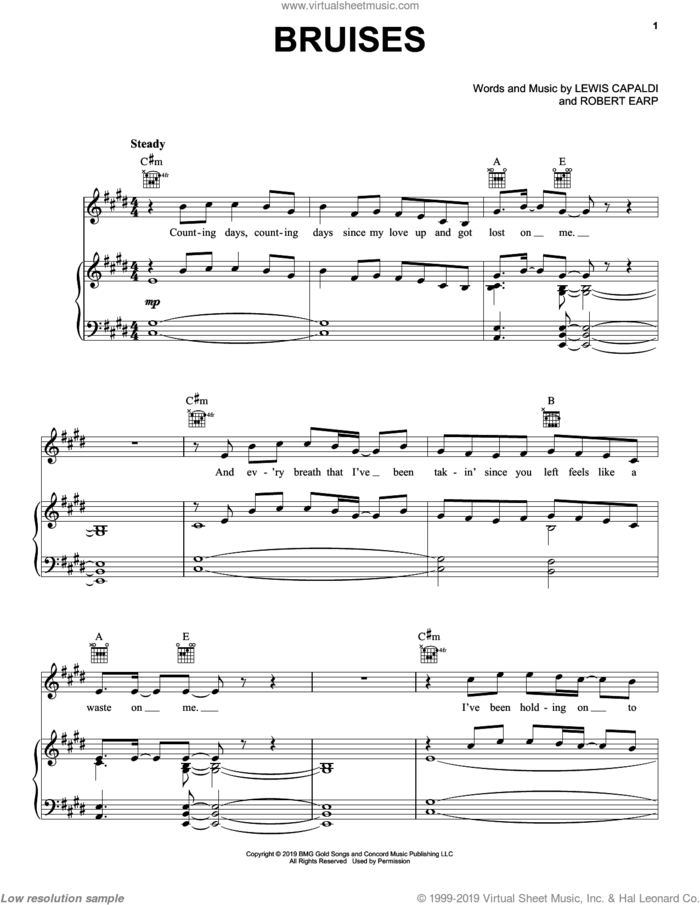 Bruises sheet music for voice, piano or guitar by Lewis Capaldi and Robert Earp, intermediate skill level