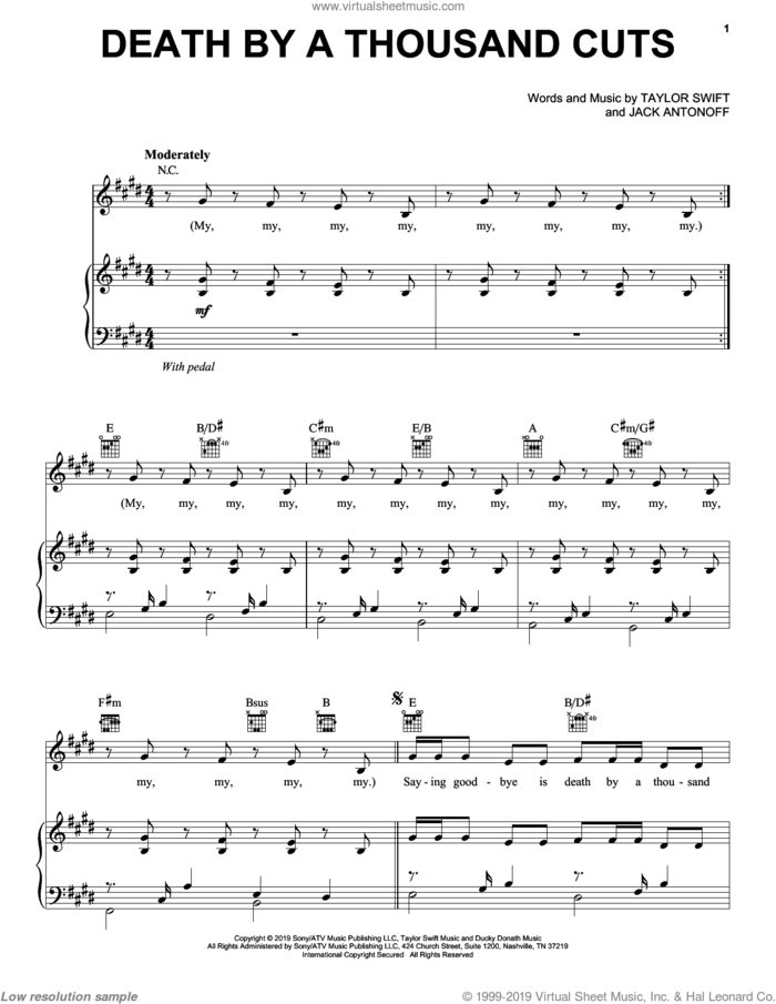 Death By A Thousand Cuts sheet music for voice, piano or guitar by Taylor Swift and Jack Antonoff, intermediate skill level