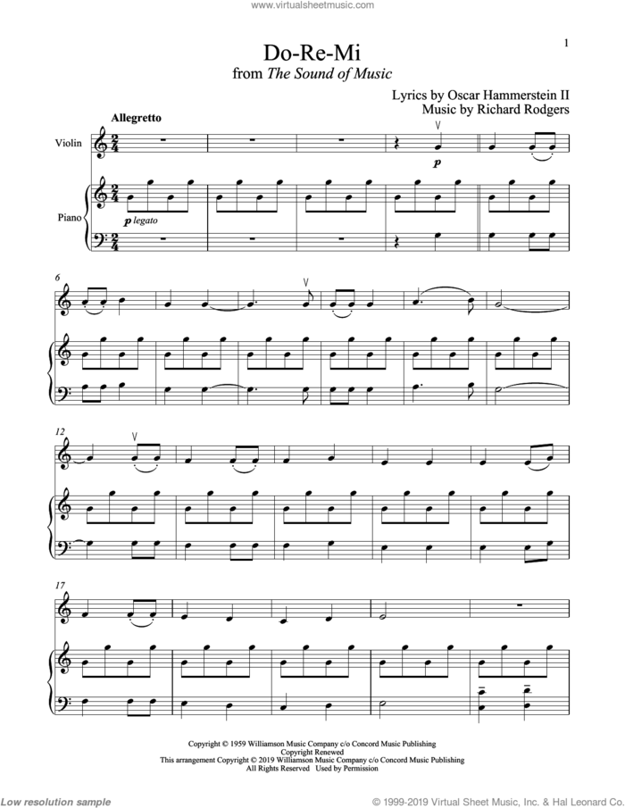 Do-Re-Mi (from The Sound of Music) sheet music for violin and piano by Richard Rodgers, Oscar II Hammerstein and Rodgers & Hammerstein, intermediate skill level