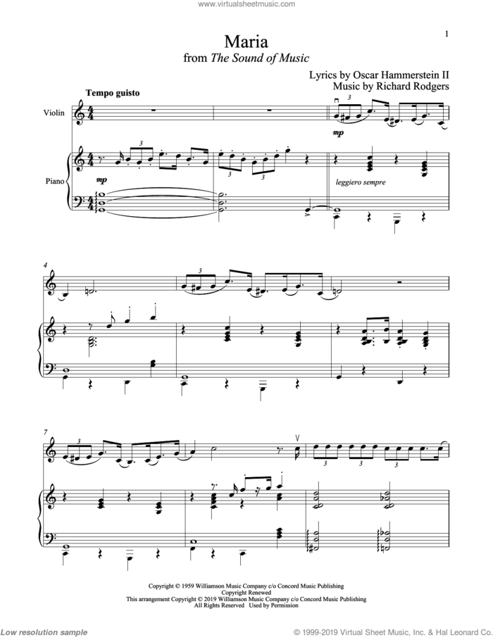 Maria (from The Sound of Music) sheet music for violin and piano by Richard Rodgers, Oscar II Hammerstein and Rodgers & Hammerstein, intermediate skill level