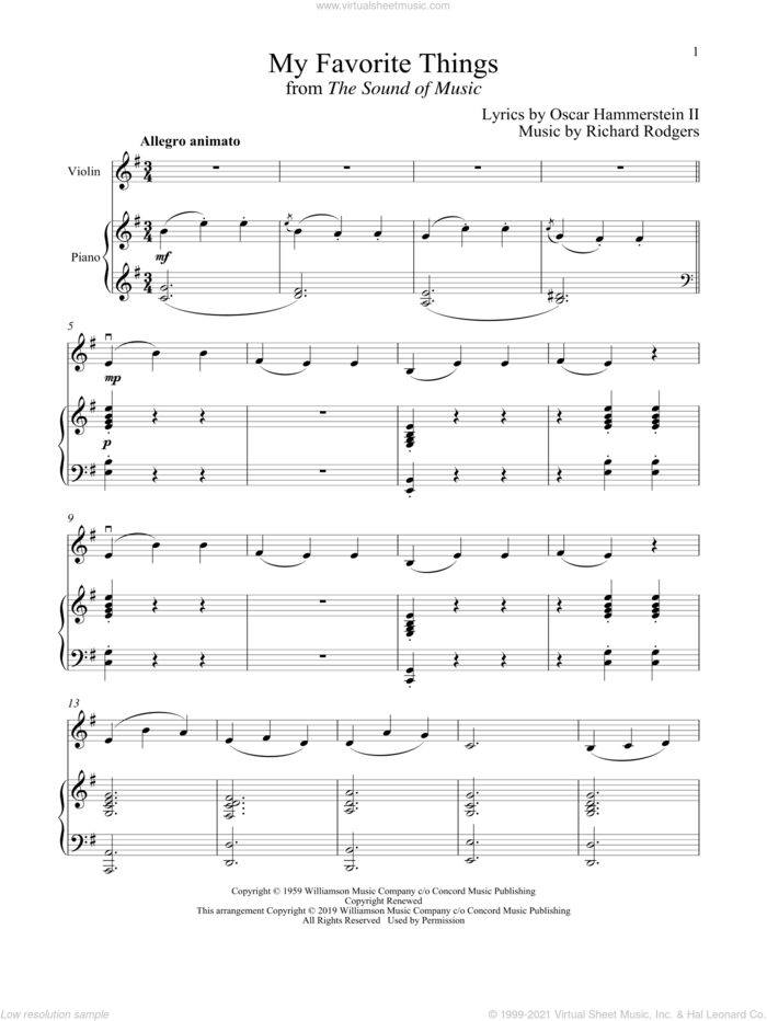 My Favorite Things (from The Sound of Music) sheet music for violin and piano by Richard Rodgers, Oscar II Hammerstein and Rodgers & Hammerstein, intermediate skill level