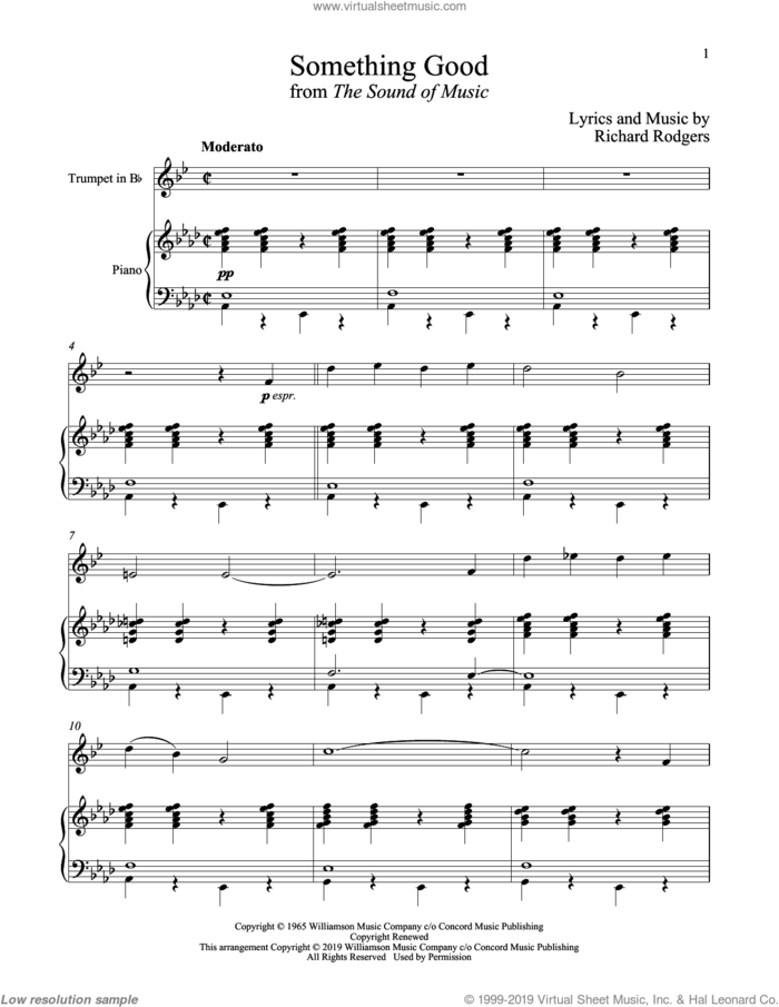 Something Good (from The Sound of Music) sheet music for trumpet and piano by Richard Rodgers, Oscar II Hammerstein and Rodgers & Hammerstein, intermediate skill level