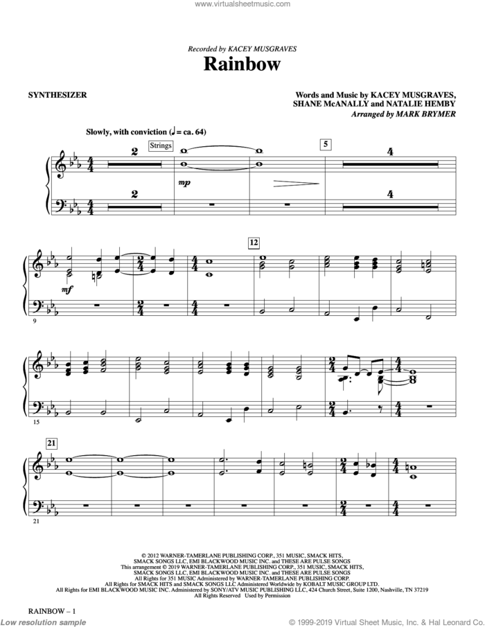 Rainbow (arr. Mark Brymer) (complete set of parts) sheet music for orchestra/band by Kacey Musgraves, Mark Brymer, Natalie Hemby and Shane McAnally, intermediate skill level