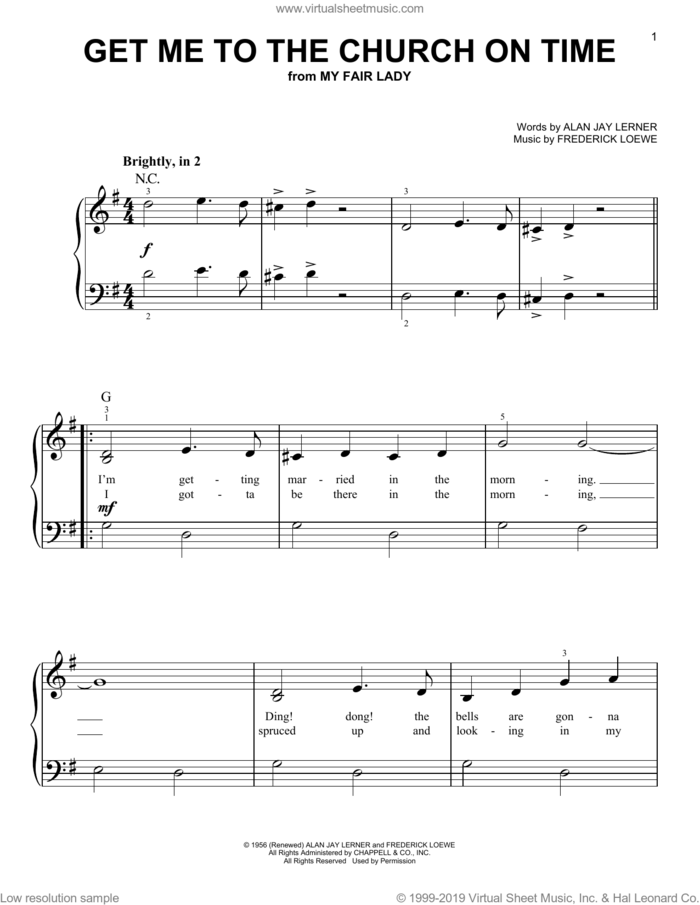 Get Me To The Church On Time (from My Fair Lady) sheet music for piano solo by Alan Jay Lerner, Frederick Loewe and Lerner & Loewe, beginner skill level