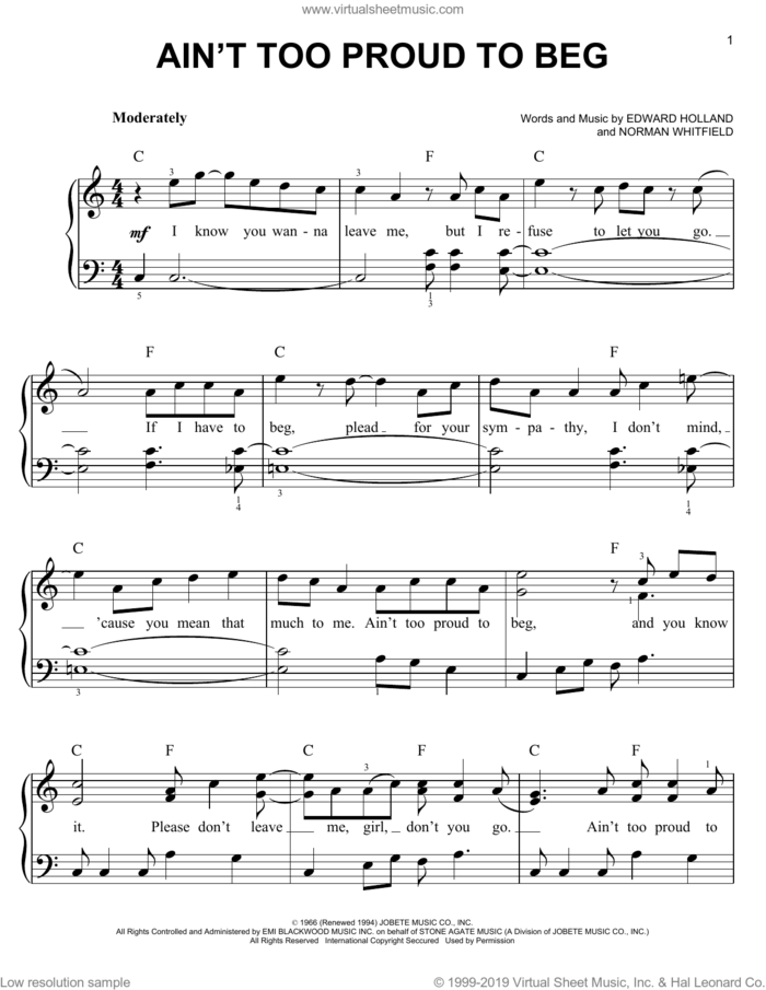Ain't Too Proud To Beg sheet music for piano solo by The Temptations, Edward Holland Jr. and Norman Whitfield, easy skill level