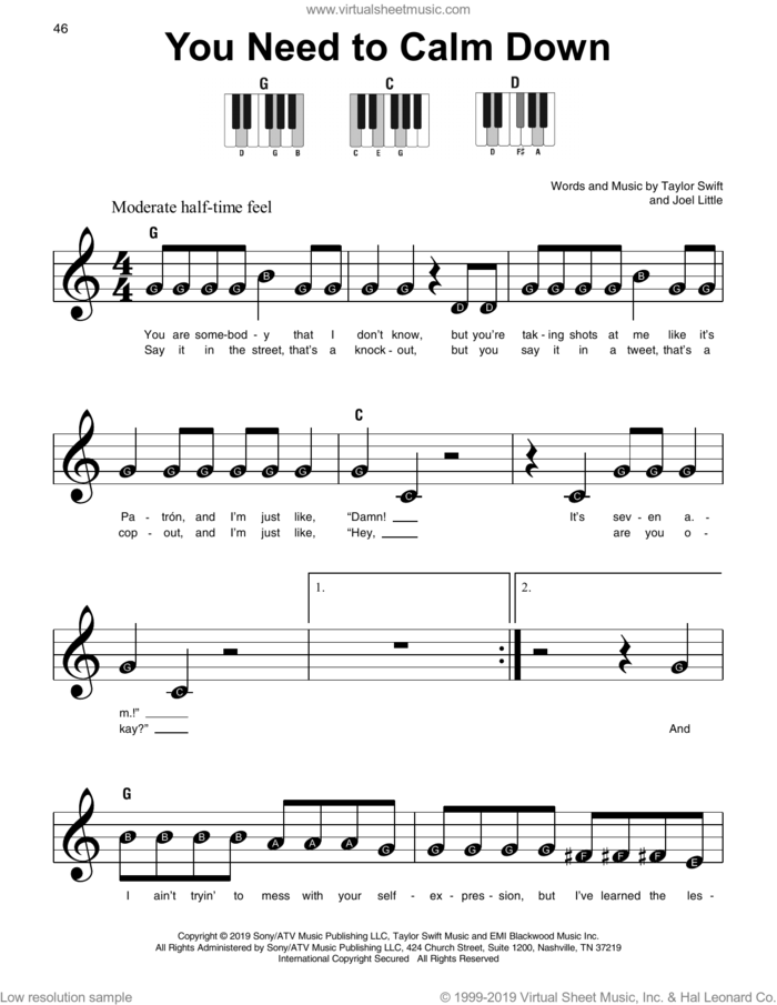 You Need To Calm Down sheet music for piano solo by Taylor Swift and Joel Little, beginner skill level
