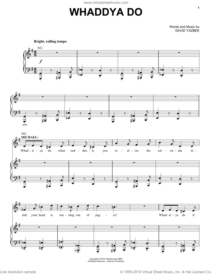 Whaddya Do (from the musical Tootsie) sheet music for voice and piano by David Yazbek, intermediate skill level