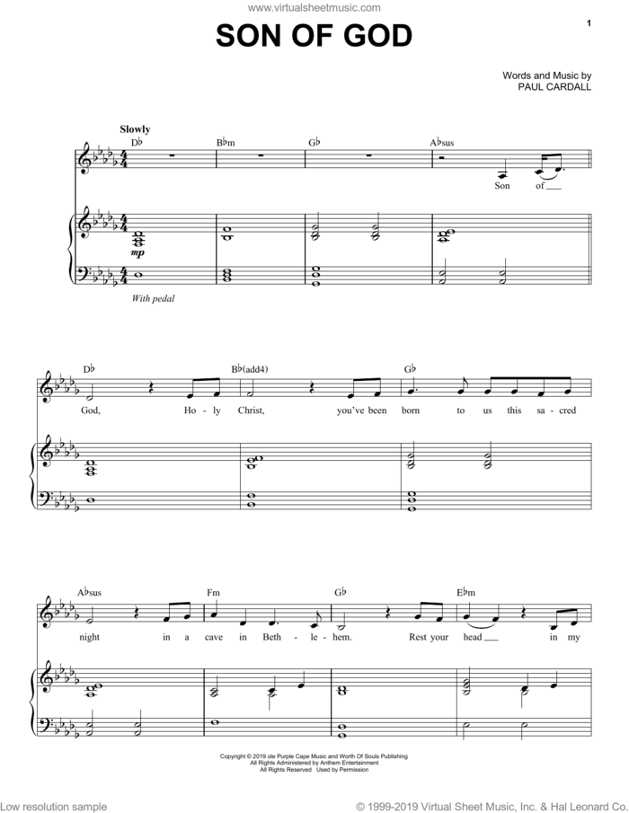 Son Of God (feat. Patrice Tipoki) sheet music for piano solo by Paul Cardall, intermediate skill level