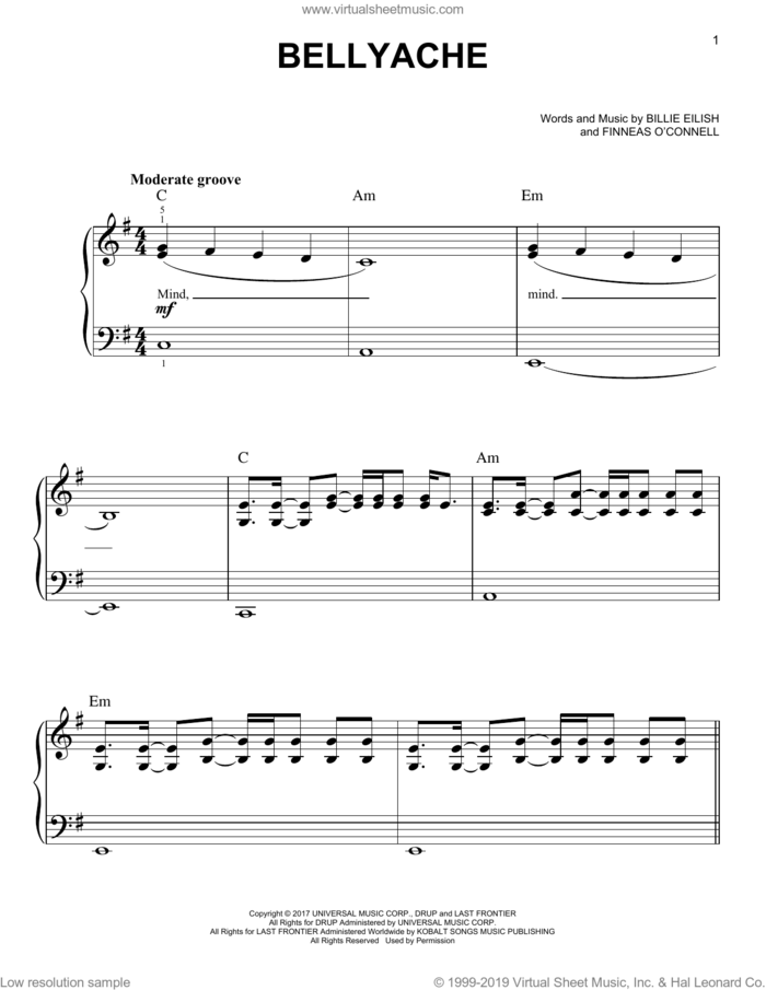 bellyache sheet music for piano solo by Billie Eilish, easy skill level