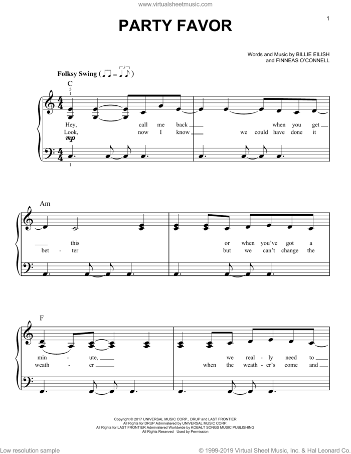 party favor sheet music for piano solo by Billie Eilish, easy skill level