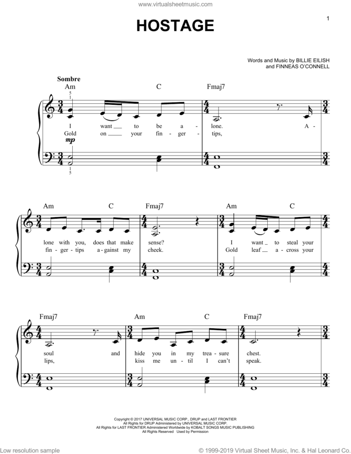 hostage sheet music for piano solo by Billie Eilish, easy skill level
