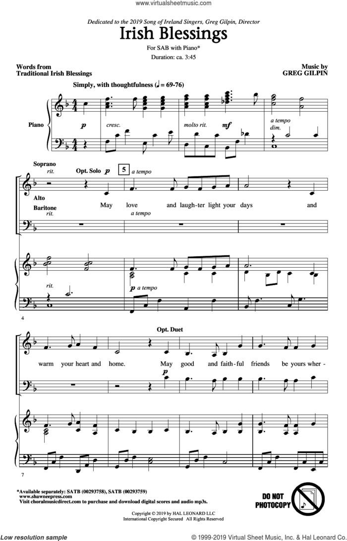 Irish Blessings sheet music for choir (SAB: soprano, alto, bass) by Greg Gilpin and Traditional Irish Blessings, intermediate skill level
