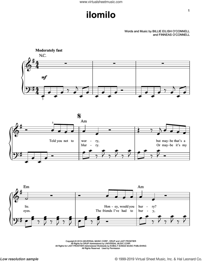 ilomilo sheet music for piano solo by Billie Eilish, easy skill level