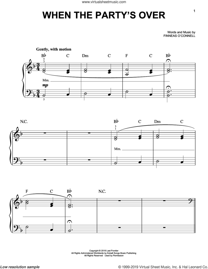 when the party's over sheet music for piano solo by Billie Eilish, easy skill level