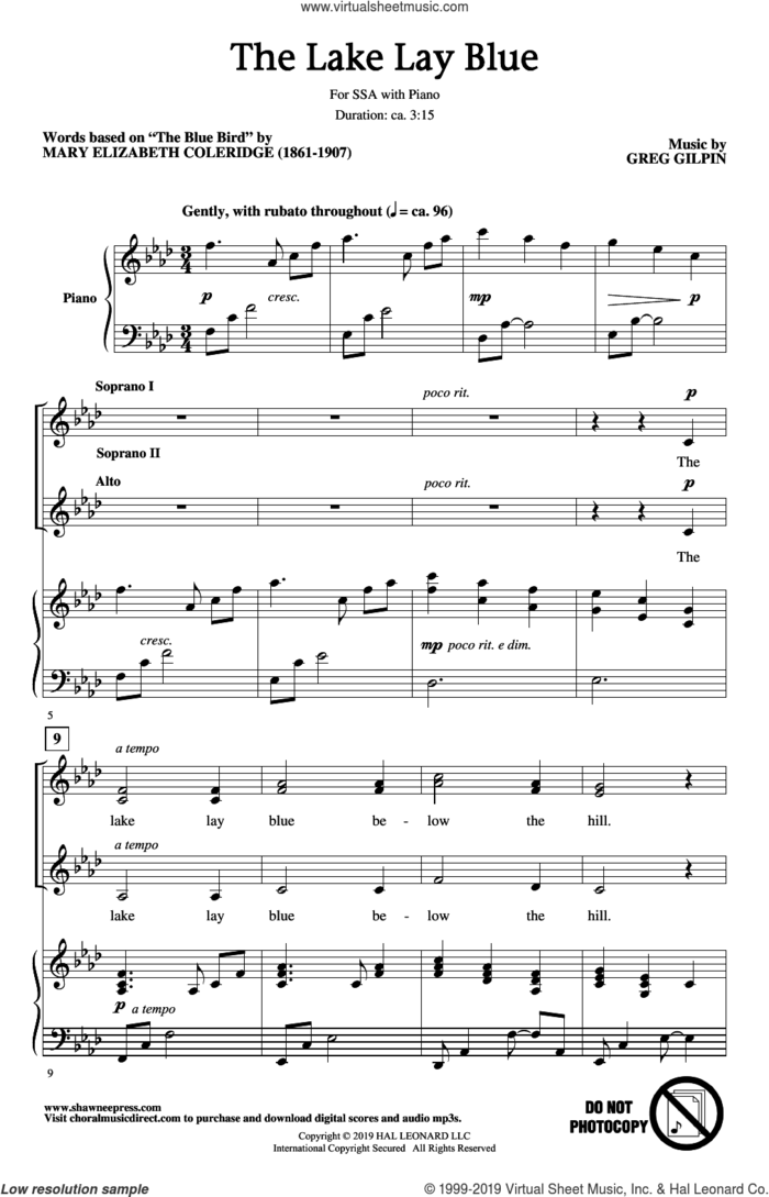 The Lake Lay Blue sheet music for choir (SSA: soprano, alto) by Greg Gilpin and Mary Elizabeth Coleridge, intermediate skill level