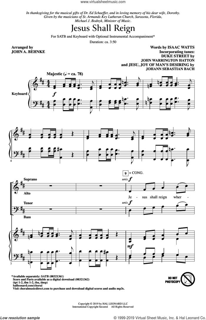 Jesus Shall Reign (arr. John A. Behnke) sheet music for choir (SATB: soprano, alto, tenor, bass) by Isaac Watts and JOHN A. BEHNKE, intermediate skill level
