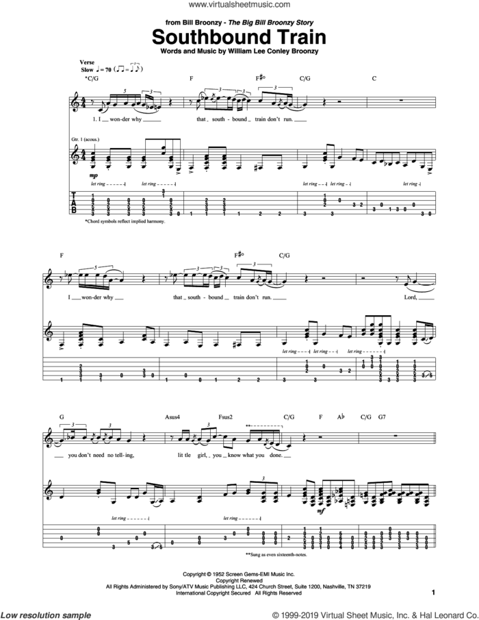 Southbound Train sheet music for guitar (tablature) by Big Bill Broonzy and William Lee Conley Broonzy, intermediate skill level